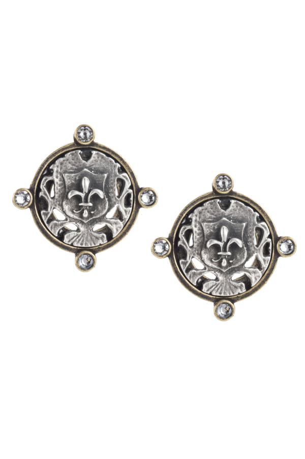 OREILLE EARRINGS WITH SILVER FLEUR MINI MEDALLION
