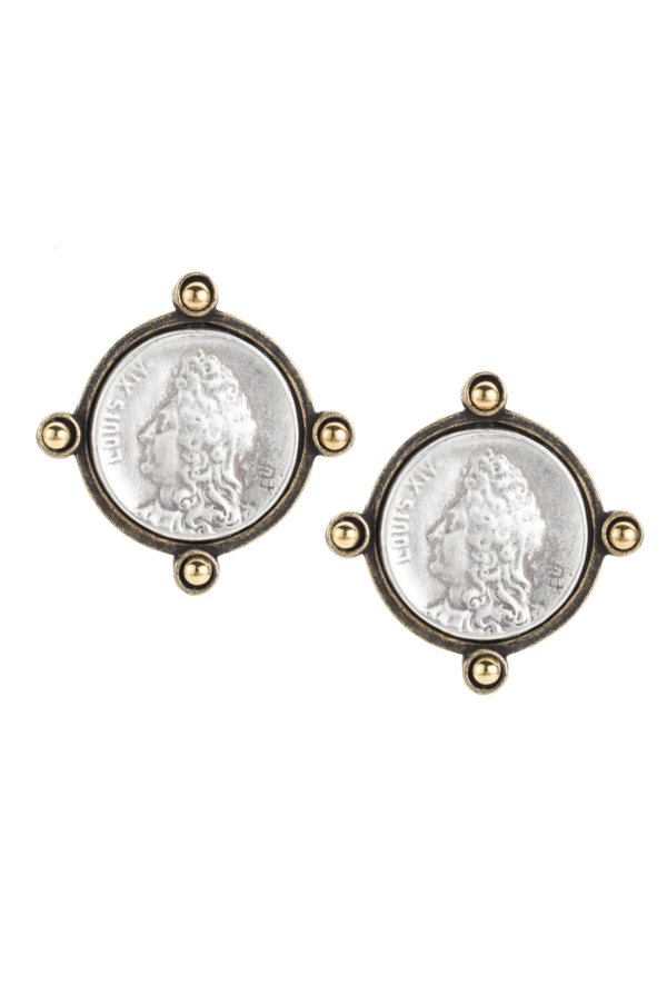 OREILLE EARRINGS WITH SILVER LOUIS MINI MEDALLION