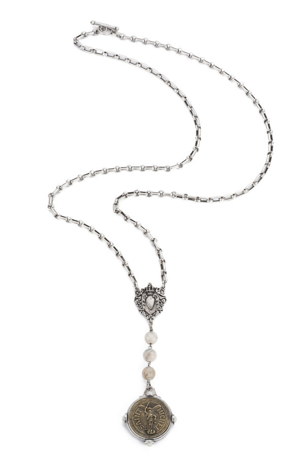 BORDEAUX CHAIN WITH AFRICAN OPAL AND ST. MICHEL MEDALLION