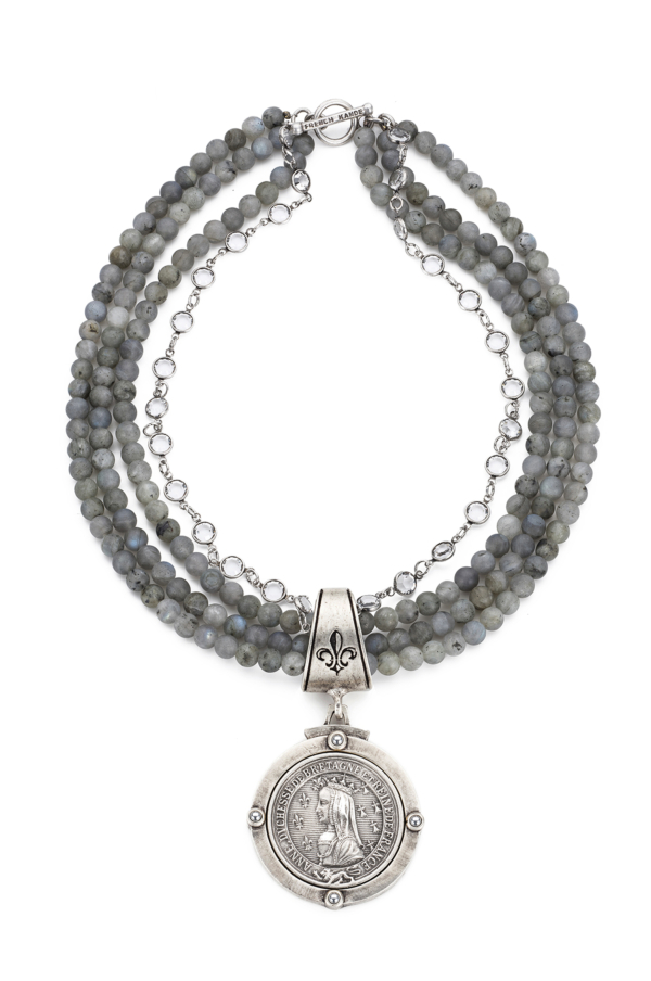 TRIPLE STRAND SANDBLAST LABRADORITE WITH SWAROVSKI AND BAYONNE MEDALLION