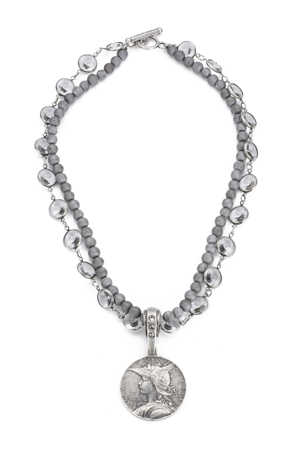 DOUBLE STRANDED SWAROVSKI AND SILVER DRIZY WITH MINISTRY MEDALLION