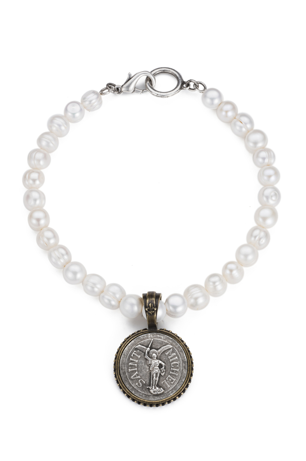PEARLS WITH ST. MICHEL MEDALLION CHOKER