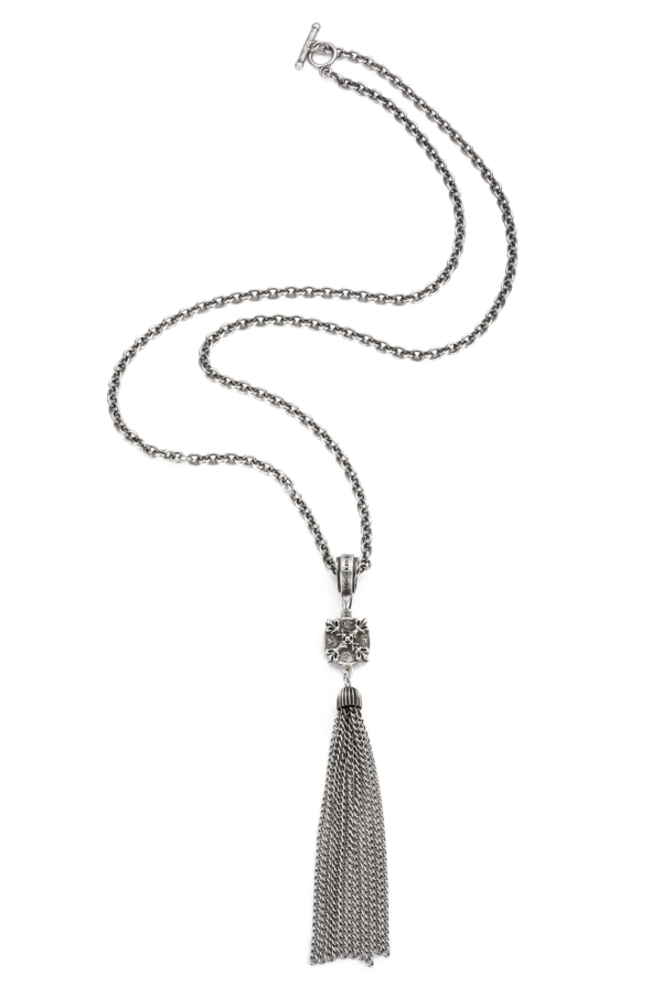 CABLE CHAIN WITH X MEDALLION AND TASSEL