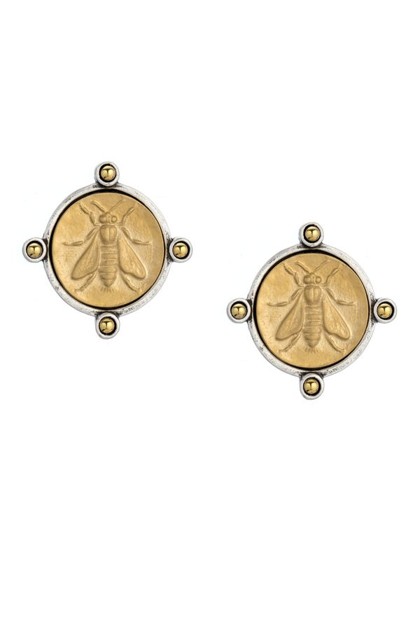 OREILLE EARRINGS WITH 14K GOLD MINI ABEILLE MEDALLION