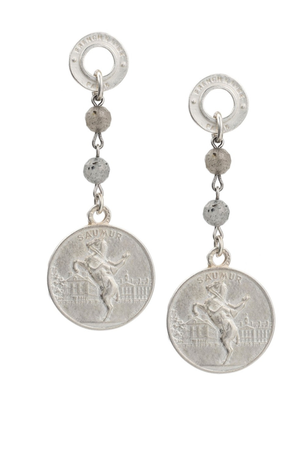 ANNECY LABRADORITE EARRINGS WITH CHOICE OF MEDALLION SILVER
