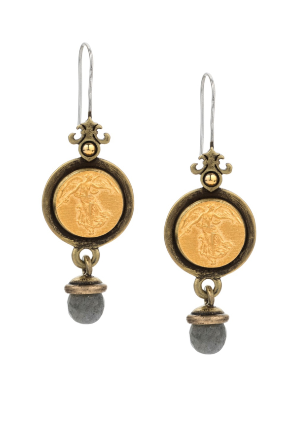 PREFERE EARRINGS WITH L'ANGE MEDALLION AND GREY LABRADORITE DANGLE