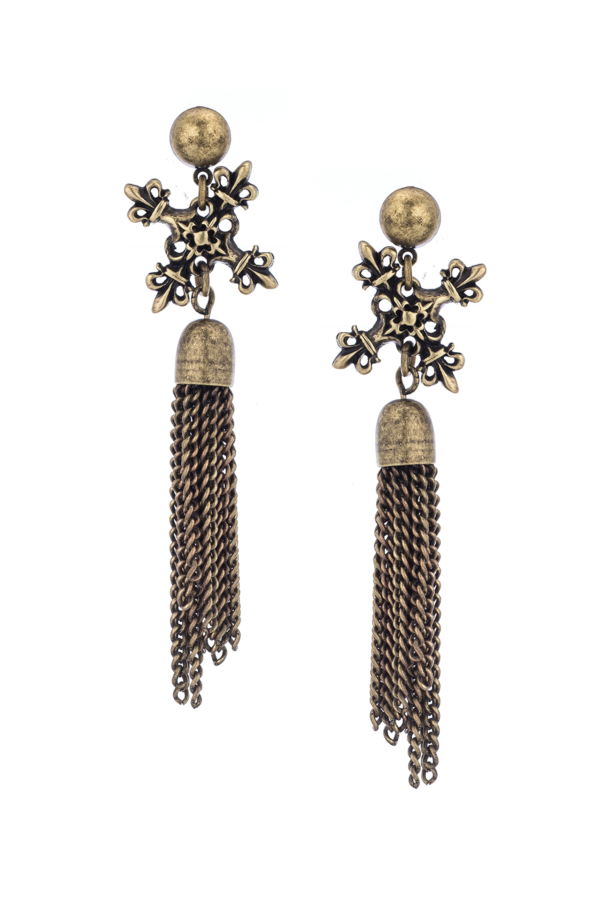 BRASS X EARRINGS WITH TASSEL