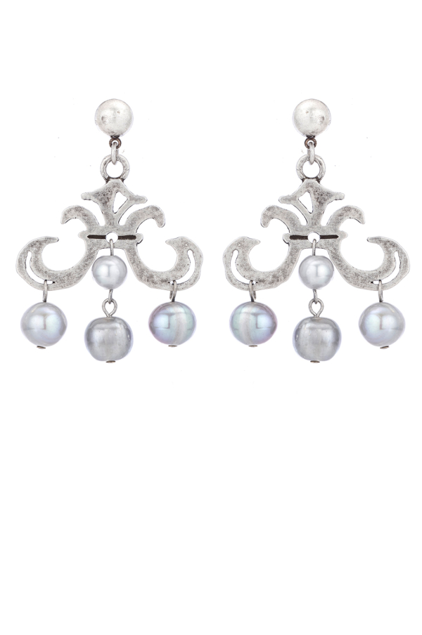 GRAND FLEUR EARRINGS WITH SILVER PEARL DANGLES
