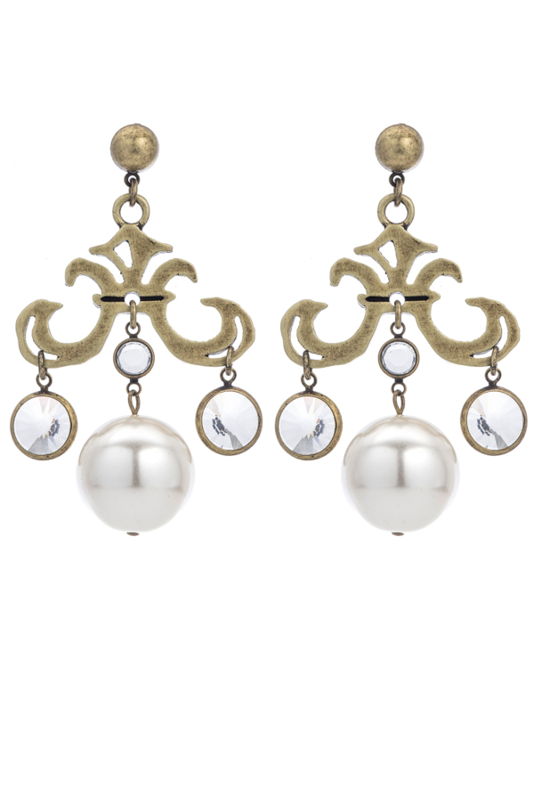 GRAND FLEUR BRASS EARRINGS WITH SWAROVSKI AND PEARL DANGLES