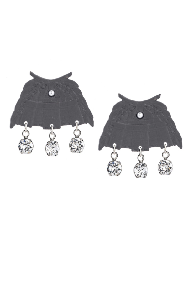 GRAPHITE CHATEAU EARRINGS WITH SWAROVSKI DANGLES