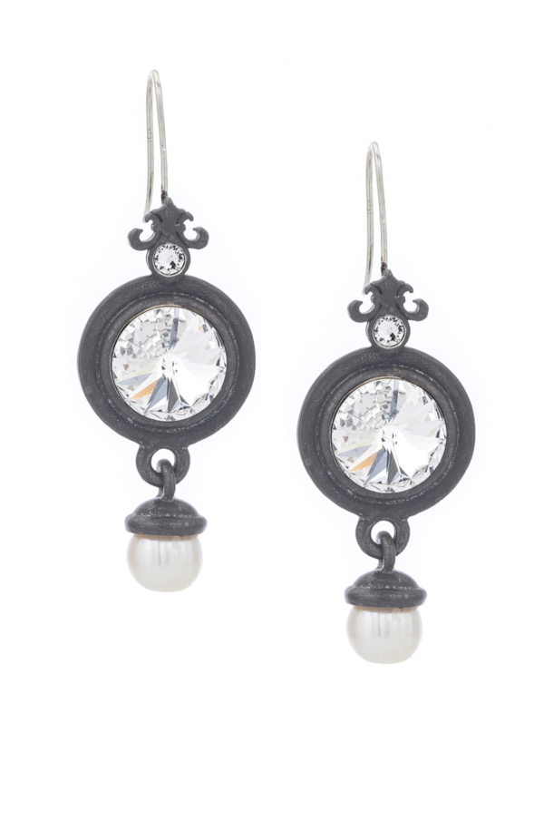GRAPHITE PREFERE EARRINGS WITH SWAROVSKI AND PEARL