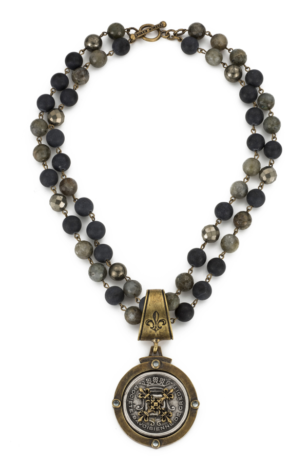 DOUBLE STRAND MIDNIGHT MIX WITH BRASS WIRE AND CENTENNIAL X STACK MEDALLION
