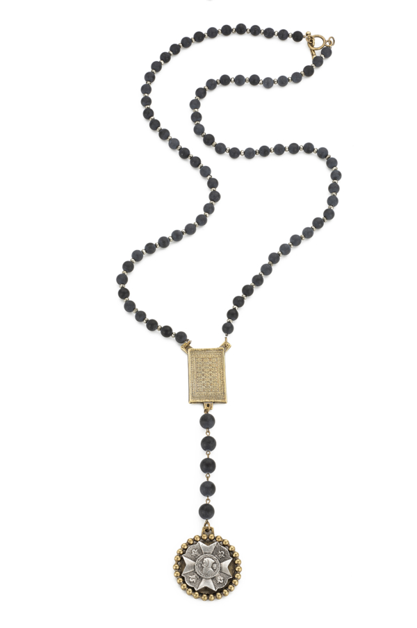BLACK JASPER AND PYRITE WITH ROUEN-TAPIS AND BRAVOURE MEDALLIONS