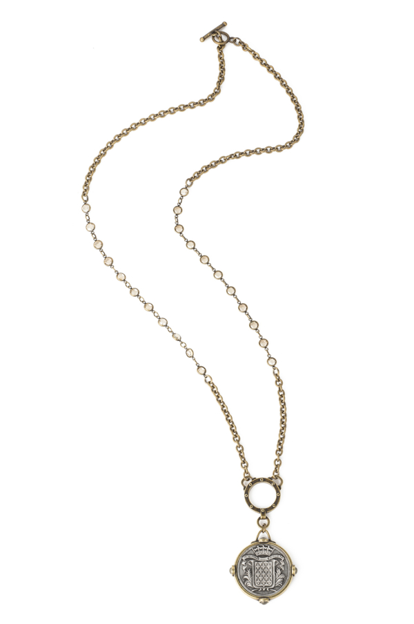 SWAROVSKI AND CABLE CHAIN WITH MONT JOYE MEDALLION