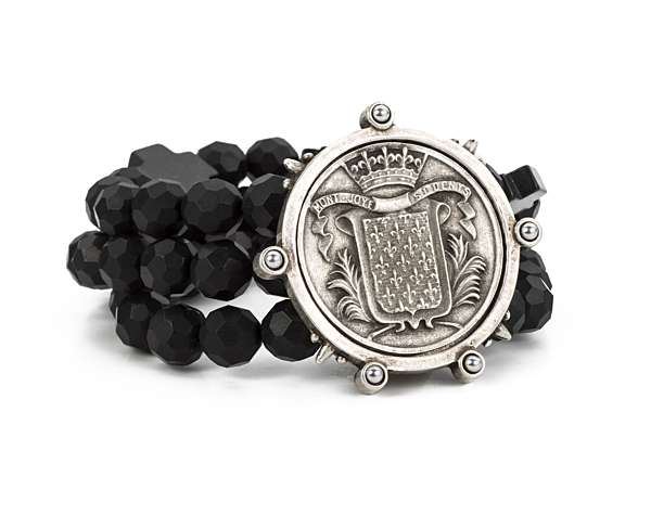 TRIPLE STRANDED FACETED BLACK ONYX WITH MONT JOYE MEDALLION