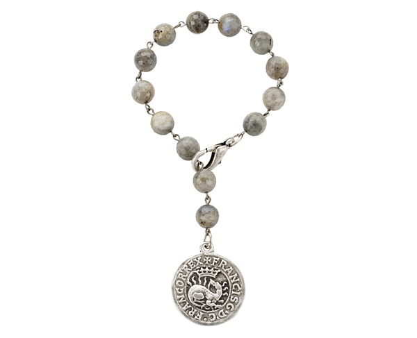 FACETED GREY LABRADORITE WITH SILVER WIRE AND DRAGO MEDALLION