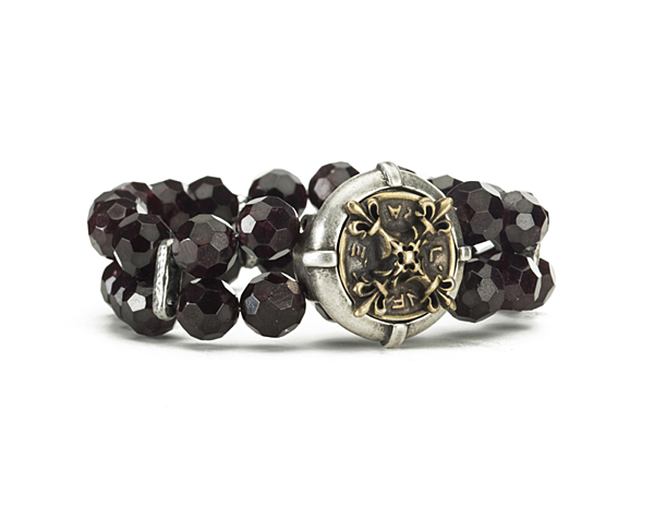DOUBLE STRANDED FACETED GARNET WITH X MEDALLION