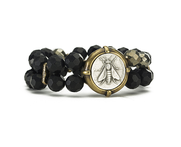 DOUBLE STRANDED FACETED BLACK ONYX WITH PYRITE ACCENTS AND MINI ABEILLE MEDALLION