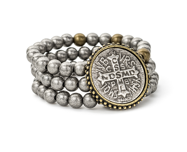 TRIPLE STRANDED SILVER METAL BEAD WITH BRASS ACCENTS AND SAINT BENEDICT MEDALLION