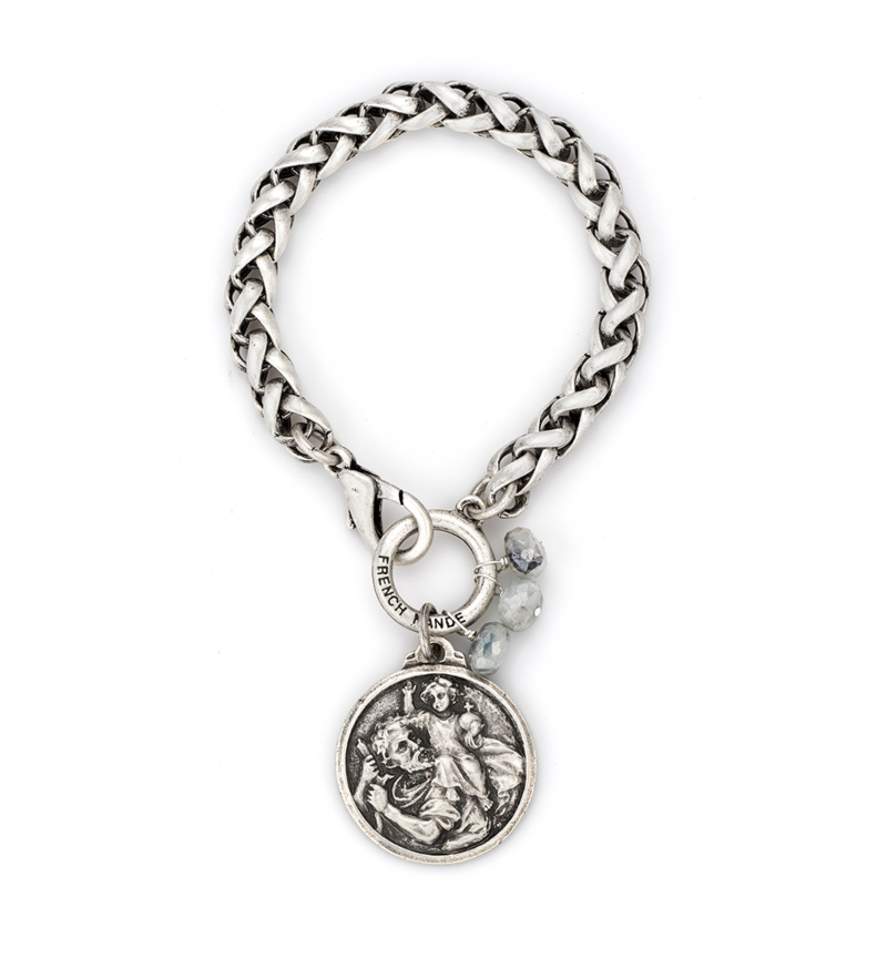 CHEVAL CHAIN WITH ST. CHRISTOPHER MIKO MEDALLION AND SILVERITE DANGLES