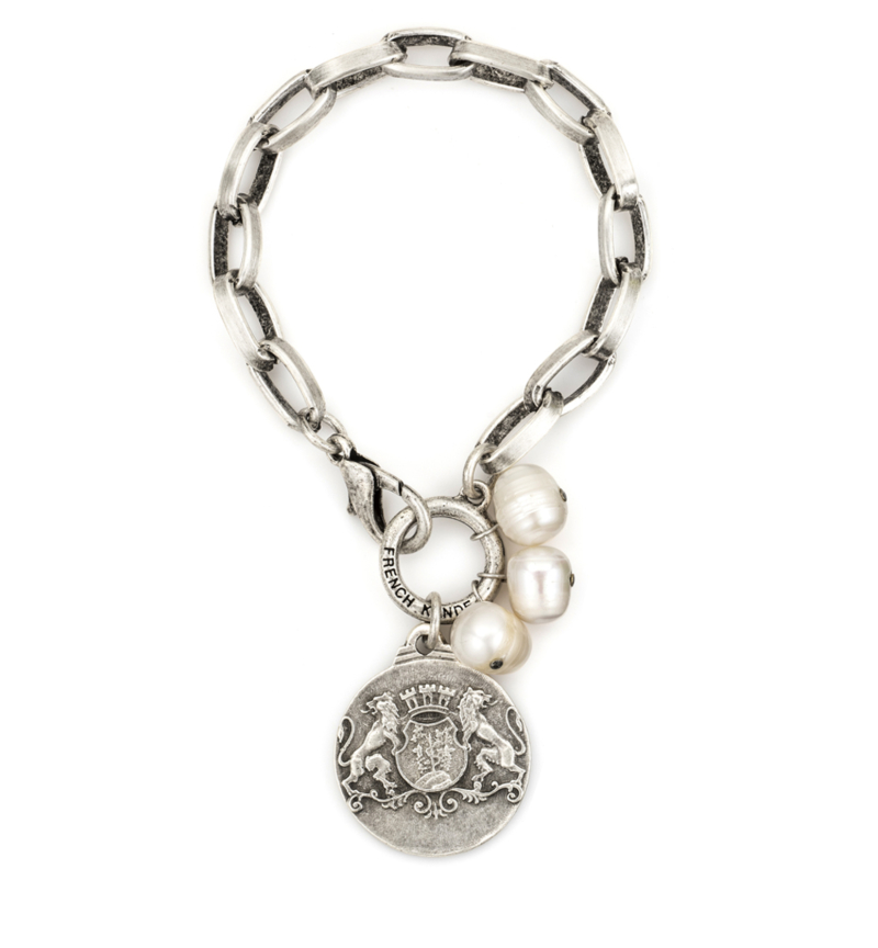 SILVER LYON CHAIN WITH AIME MEDALLION AND WHITE PEARL DANGLES