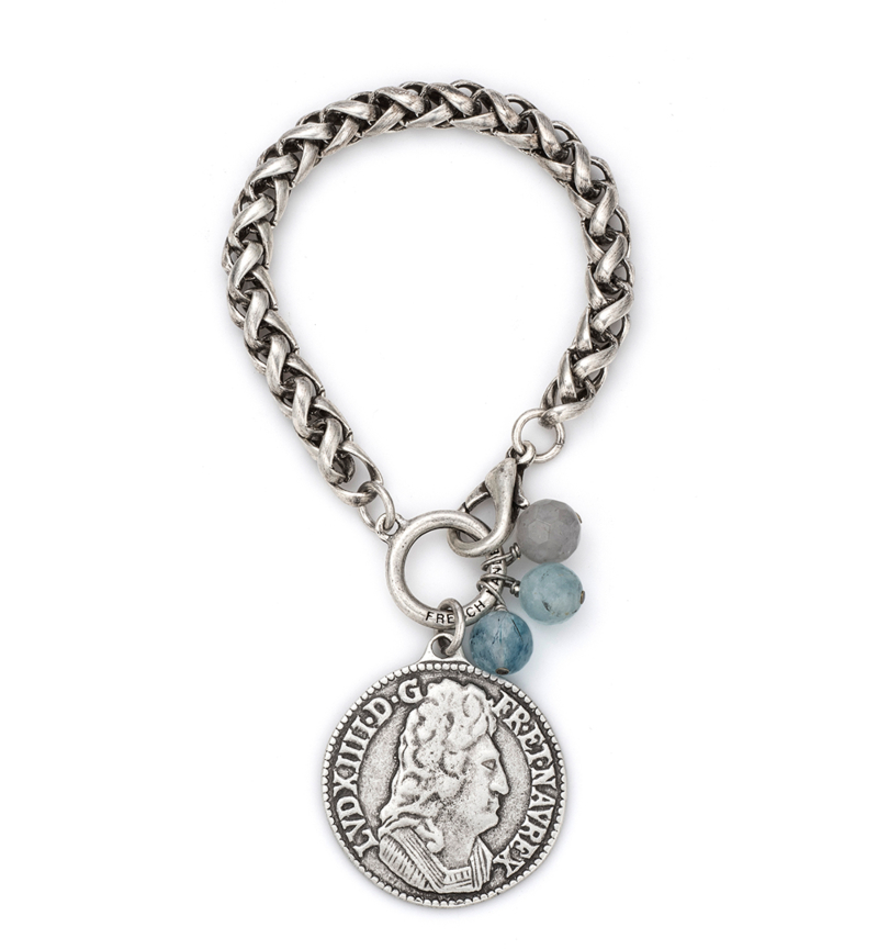 ALSACE CHAIN WITH DENIM MIX DANGLES AND LOUIS MEDALLION