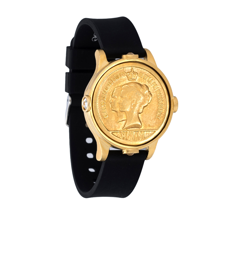 BLACK & GOLD SPORT KANDE BRACELET WITH MONACO MEDALLION