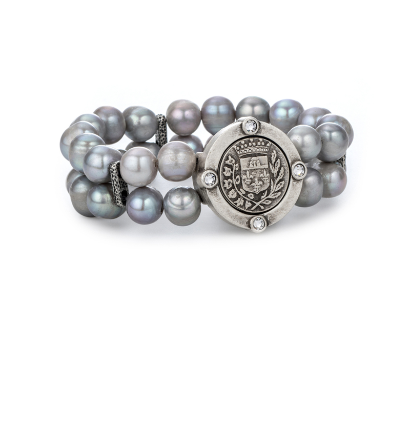 DOUBLE STRAND SILVER PEARL AND GUSTAVE MEDALLION