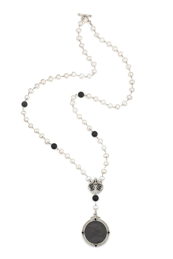 WHITE PEARL WITH SILVER WIRE, BLACK JASPER, IMMACULATE HEART RELIER AND GRAPHITE MINISTRY MEDALLION