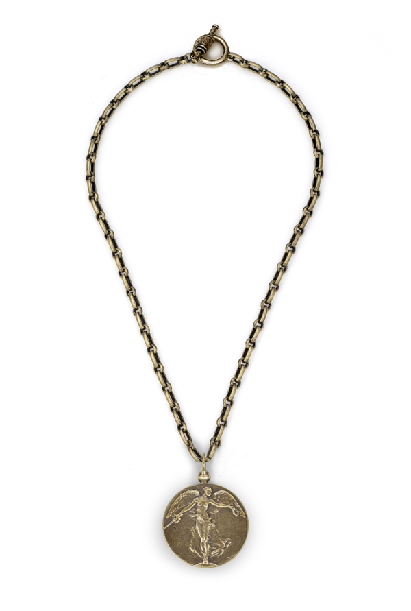 BORDEAUX CHAIN WITH L'ANGE MEDALLION BRASS