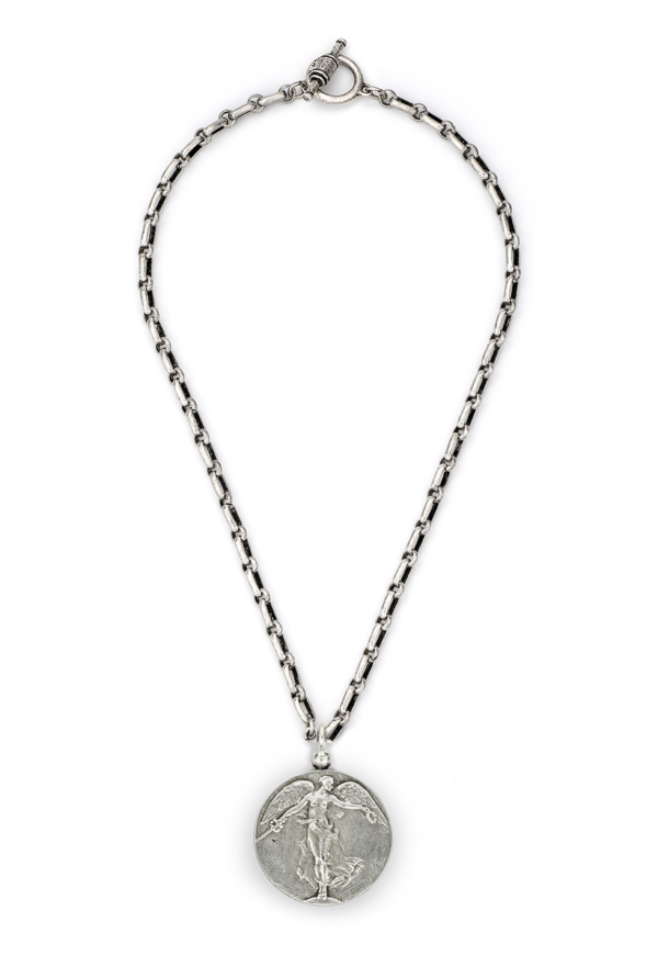 BORDEAUX CHAIN WITH L'ANGE MEDALLION SILVER