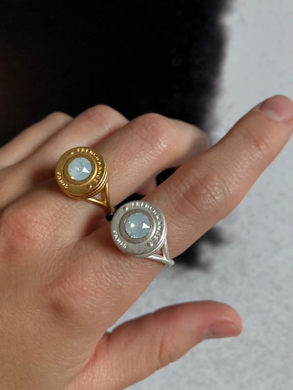 WHITE OPAL SWAROVSKI ANNECY SWIRL RING, GOLD OR SILVER