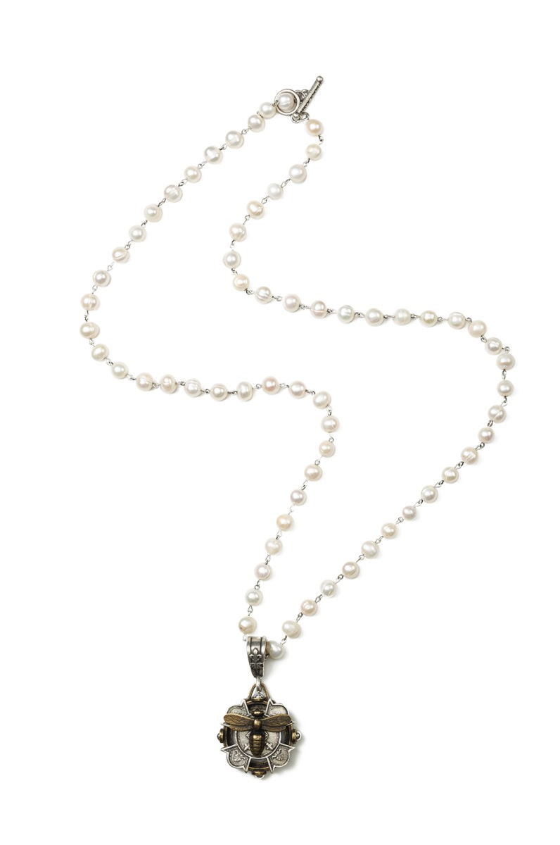 PEARLS WITH SILVER WIRE AND MERIT MIEL STACK MEDALLION
