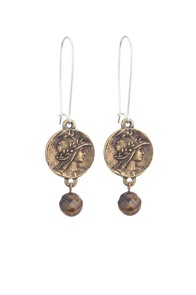 DROP EARRINGS WITH MINI MINISTRY MEDALLION AND TIGER'S EYE