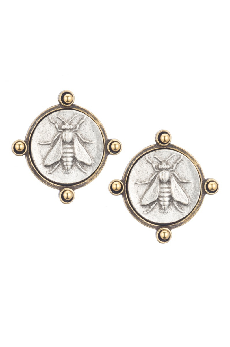 OREILLE EARRINGS WITH GOLD CABS AND MINI ABEILLE MEDALLION