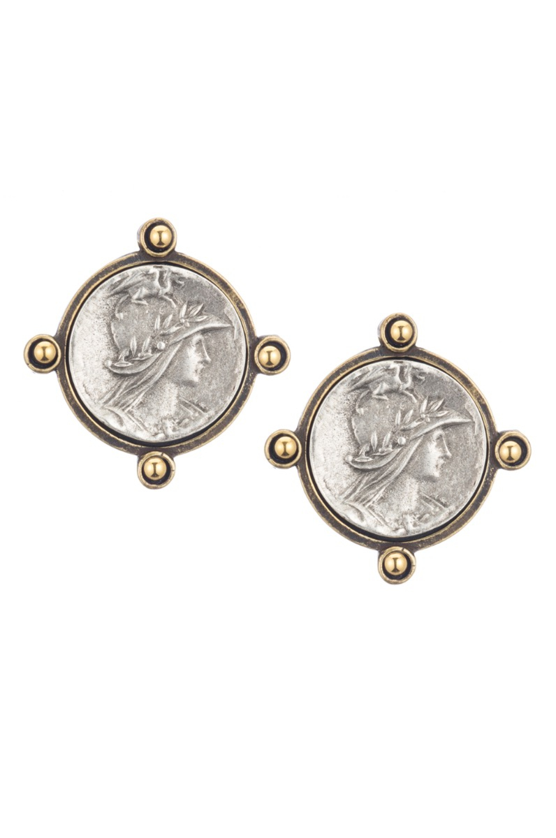 OREILLE EARRINGS WITH GOLD CABS AND MINI MINISTRY MEDALLION
