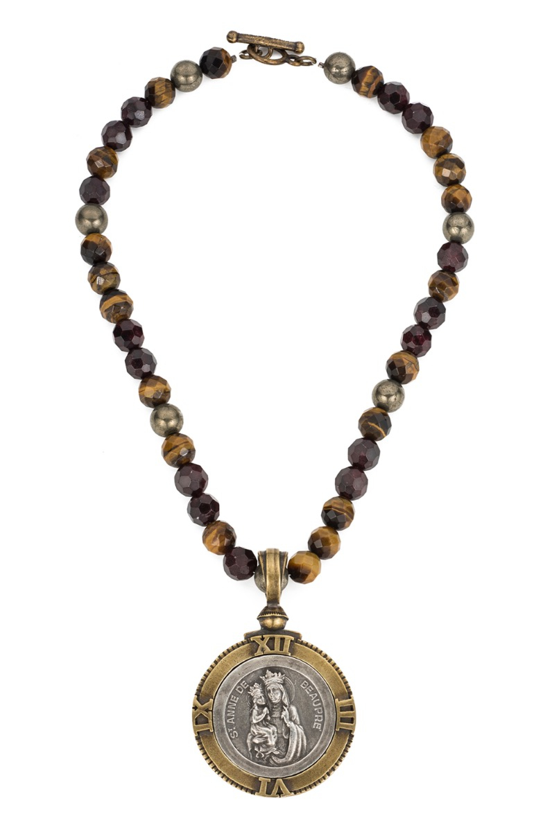 TIGER'S EYE MIX WITH SAINT ANNE MEDALLION