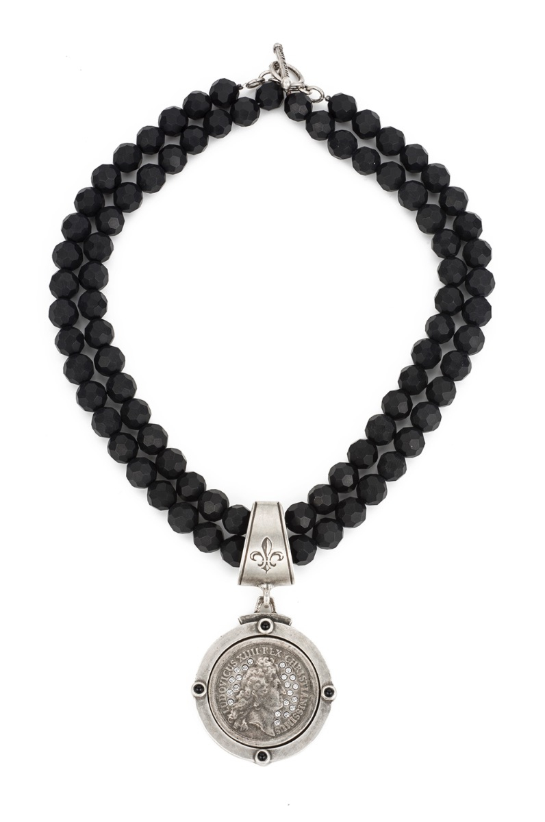 DOUBLE STRAND FACETED BLACK ONYX WITH SWAROVSKI REX MEDALLION