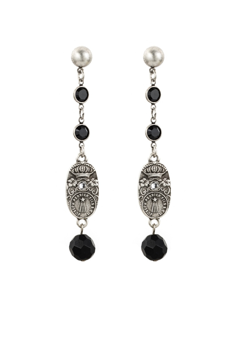 SWAROVSKI, BLACK ONYX AND CUVEE PENDANT EARRINGS
