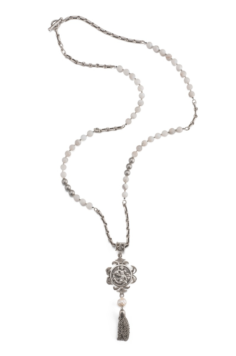LILY AGATE AND SILVER METAL BEAD WITH ST. CHRISTOPHER-MIKO MEDALLION AND TASSEL