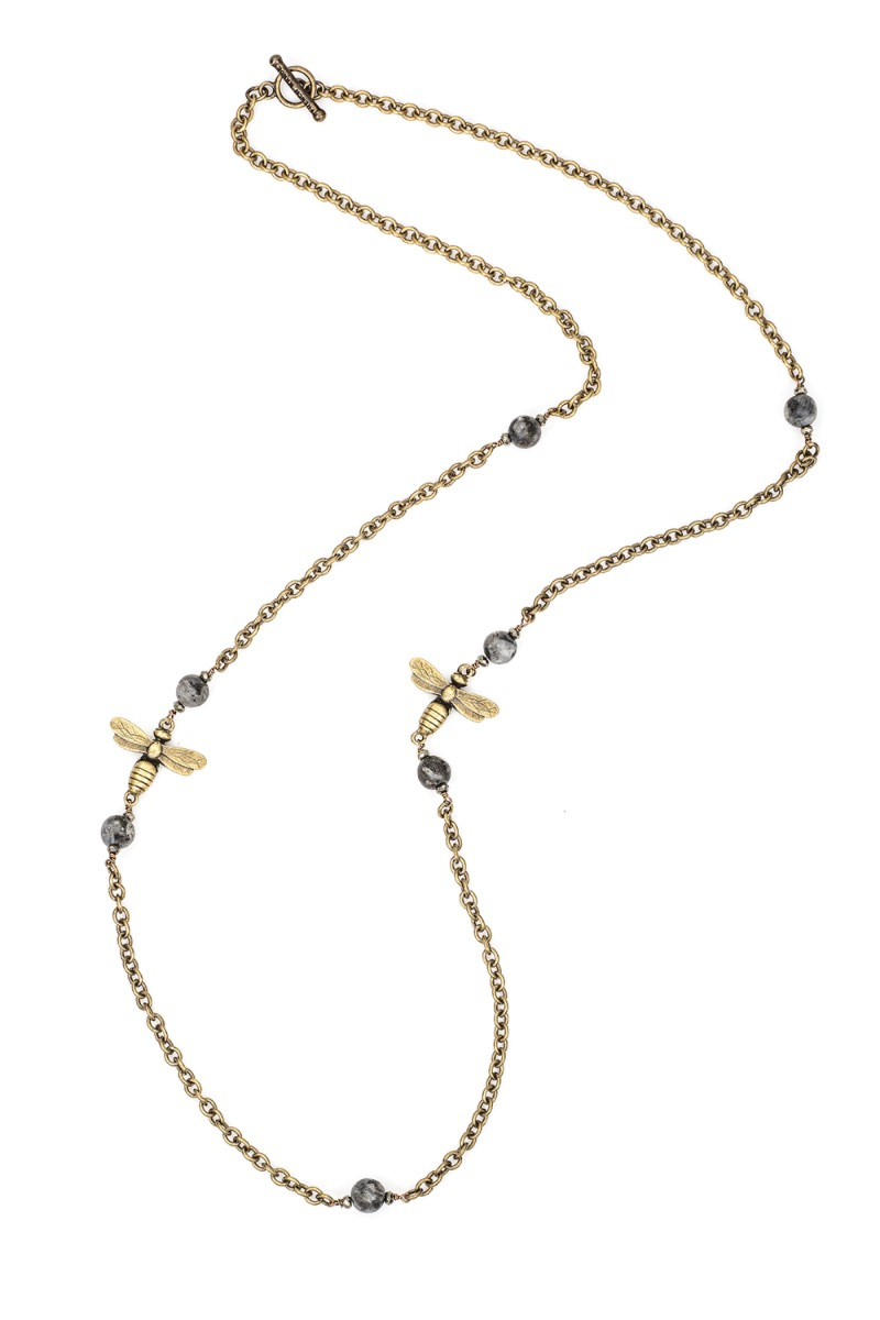 CABLE CHAIN WITH SANDBLAST BLACK LABRADORITE ACCENTS AND MIEL PENDANTS