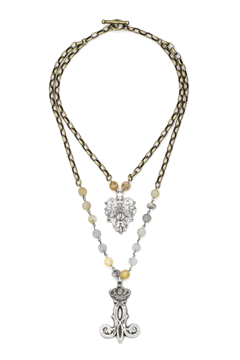 DOUBLE STRAND GOLDEN MIX AND ALSACE CHAIN, FRENCH FILIGREE AND CROWN FLOURISH PENDANTS