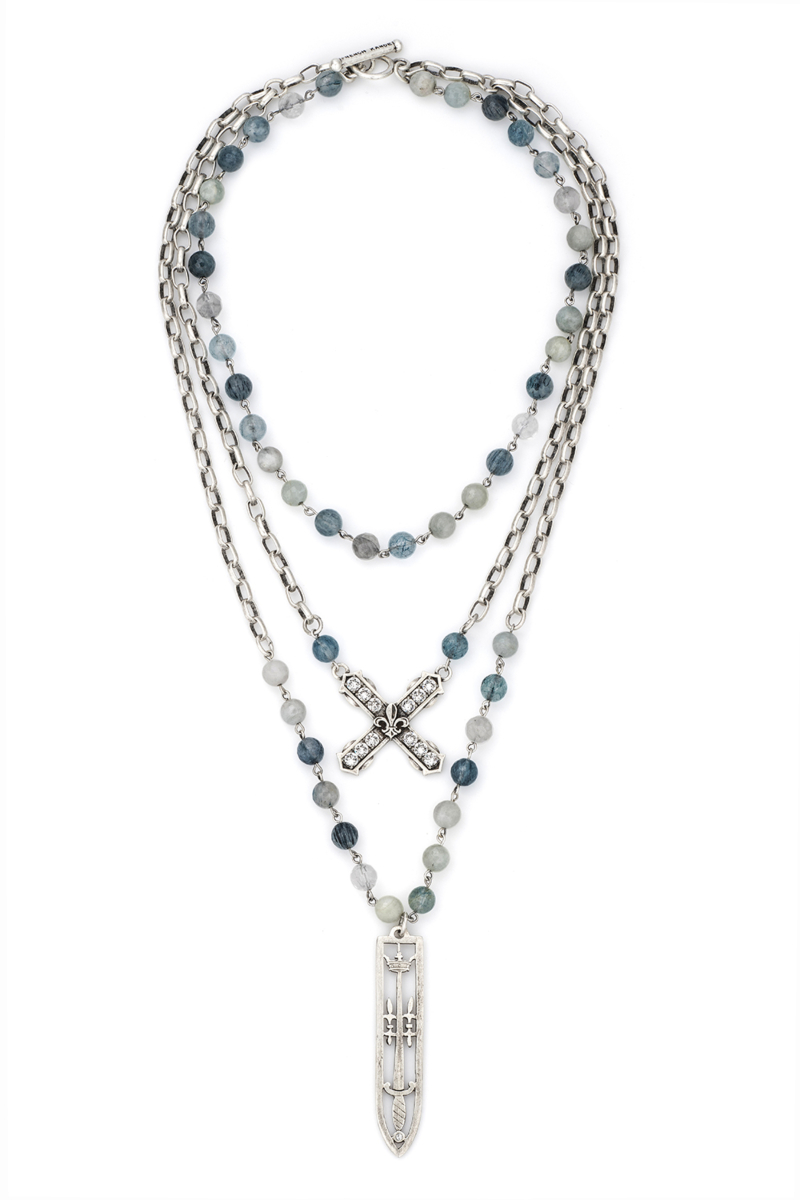 TRIPLE STRAND DENIM MIX WITH SILVER WIRE, ALSACE CHAIN, SWAROVSKI FRENCH KISS AND SWORD & CROWN PENDANT