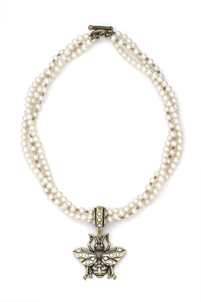 TRIPLE STRAND PEARL AND SILVER HEISHI WITH FK BEE PENDANT