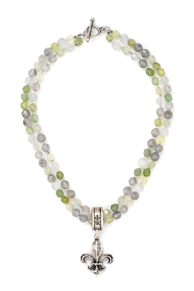 DOUBLE STRAND SAGE MIX AND HEISHI WITH FK FLEUR PENDANT