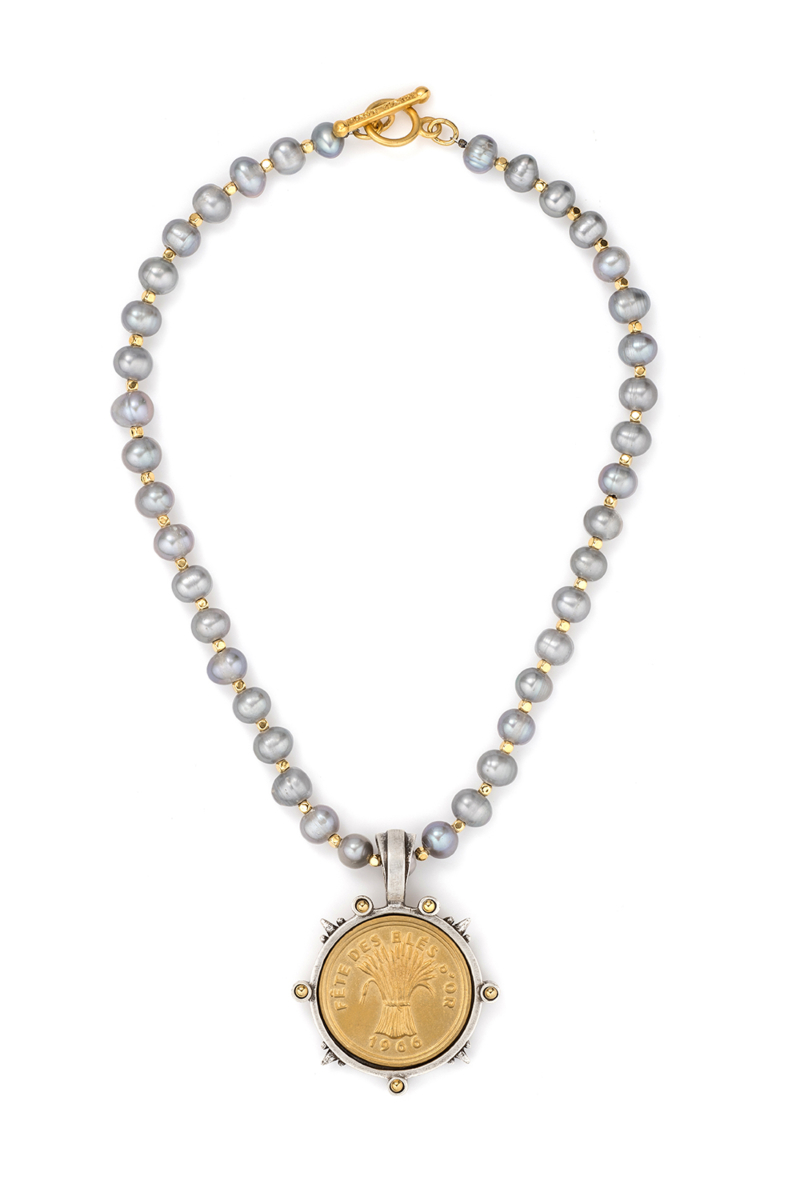 SILVER PEARLS WITH BLES D'OR MEDALLION