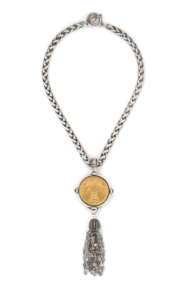 CHEVAL CHAIN WITH BLES D'OR MEDALLION AND LABRADORITE TASSEL