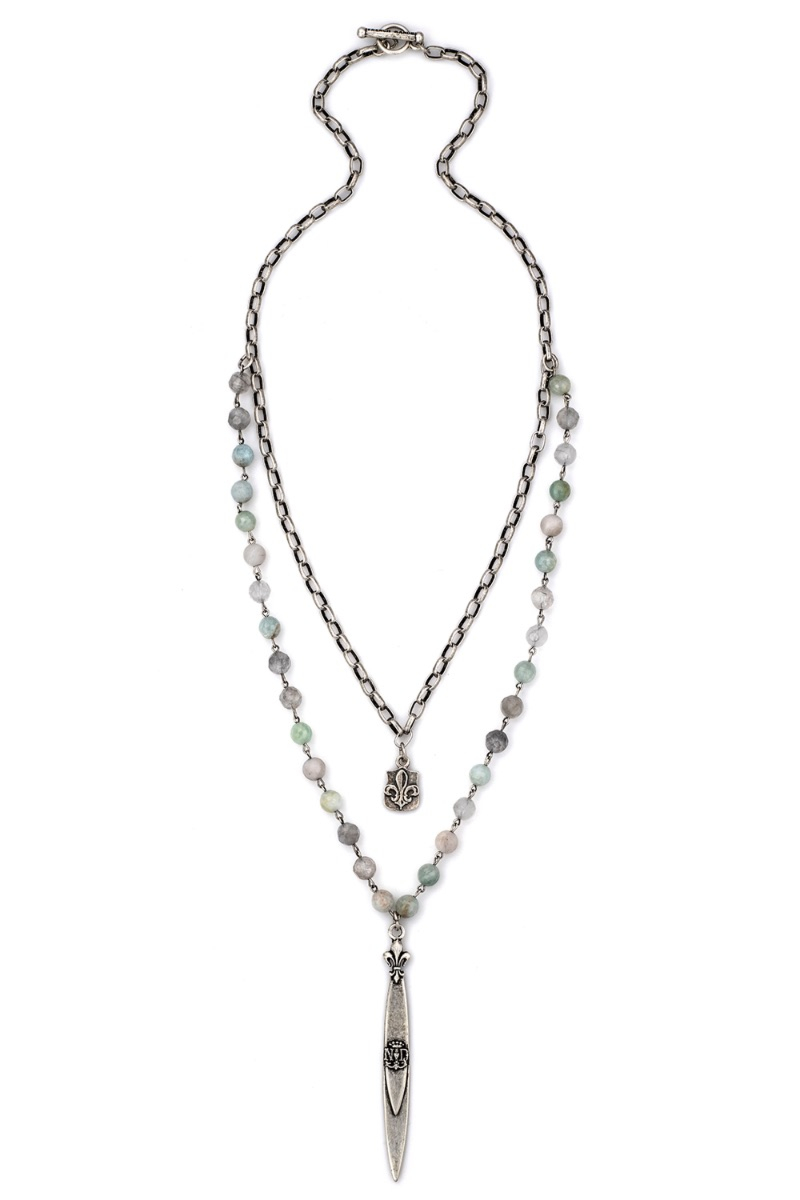 DOUBLE STRAND AQUAMARINE MIX WITH SILVER WIRE, ALSACE CHAIN, FDL AND POINTU PENDANTS