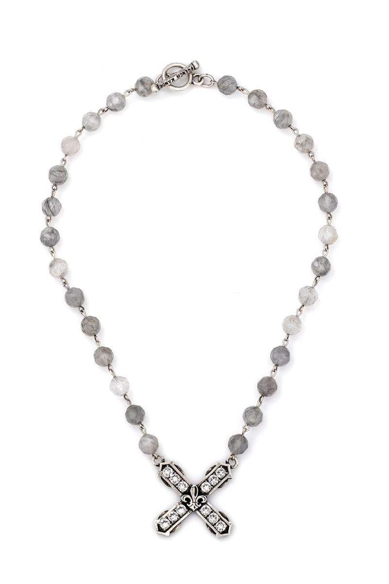 FACETED CLOUDY QUARTZ WITH SILVER WIRE AND SWAROVSKI FRENCH KISS PENDANT