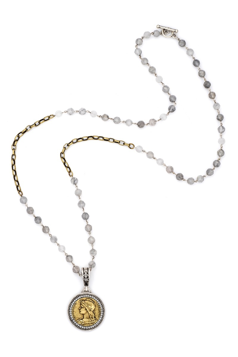 FACETED CLOUDY QUARTZ WITH SILVER WIRE, ALSACE CHAIN, CHEMINS MEDALLION AND SWAROVSKI